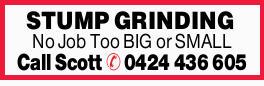 STUMP GRINDING No Job Too BIG or SMALL Call Scott