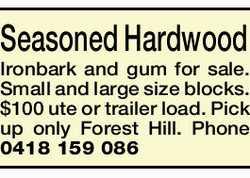 Seasoned Hardwood Ironbark and gum for sale.   Small and large size blocks.   $100 ute or...