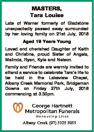 Late of Warner formerly of Gladstone unexpectedly passed away surrounded by her loving family on...