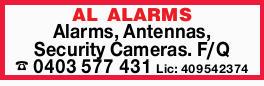 AL ALARMS Alarms, Antennas, Security Cameras. F/Q Lic: 409542374