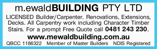LICENSEDBuilder/Carpenter.   Renovations, Extensions, Decks.   All Carpentry work i...
