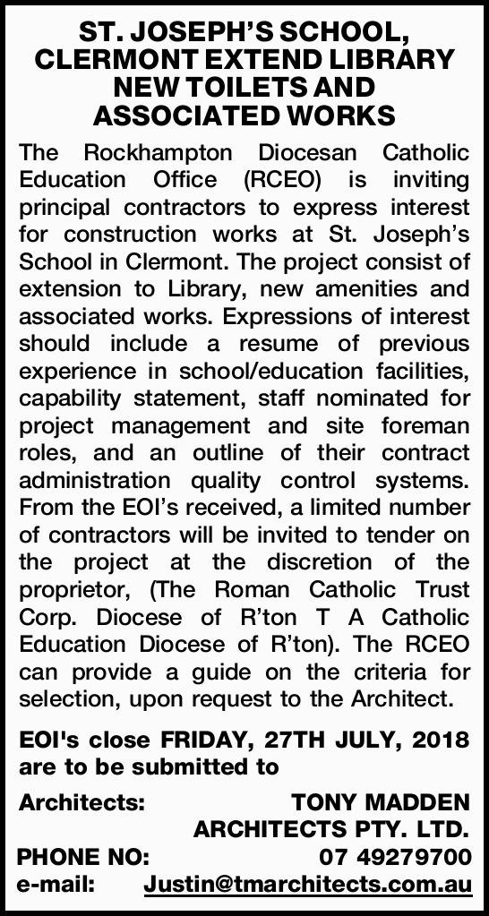 The Rockhampton Diocesan Catholic Education Office (RCEO) is inviting principal contractors to ex...