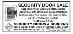 Security Door with a triple lock, incl. GST from $595. No bars or grilles. 7mm Diamond Grille Doo...