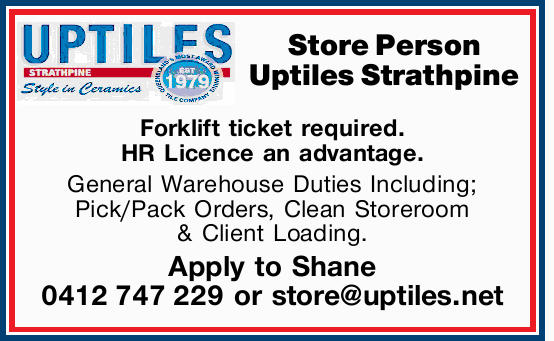 Store Person Uptiles Strathpine 