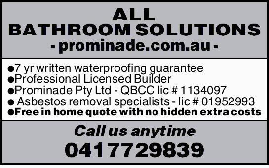 ALL BATHROOM SOLUTIONS    www.prominade.com.au   - 7 yr written waterproofing guarantee ...