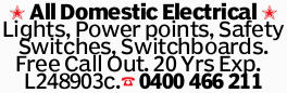 All Domestic Electrical Lights, Power points, Safety Switches, Switchboards. Free Call Out. 20 Yr...