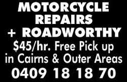ROADWORTHIES      Free Pick up in Cairns & Outer Areas