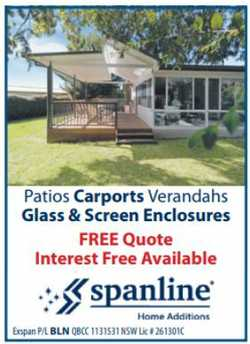 Patios Carports Verandahs Glass & Screen Enclosures FREE Quote Interest Free Available
