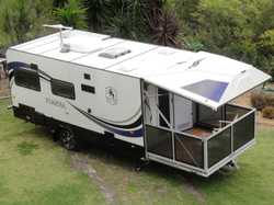 As new, single axle, solar, air con, bbq, 3-way fridge, W/M, 2 TV's, gas/electric stove with grill,...
