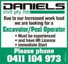 Excavator/Pozi Operator