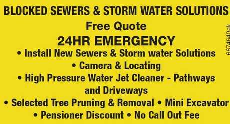 "<p align=""LEFT"" dir=""LTR""> <span lang=""EN-AU"">Blocked Sewers & Storm water...</span></p>"