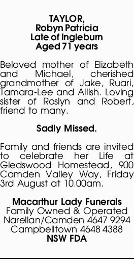 TAYLOR, Robyn Patricia   Funeral Notices   Sydney   The