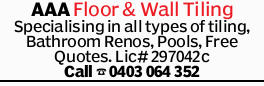 Specialising in all types of tiling:    Bathroom Renovations  Pools, etc  Free Q...