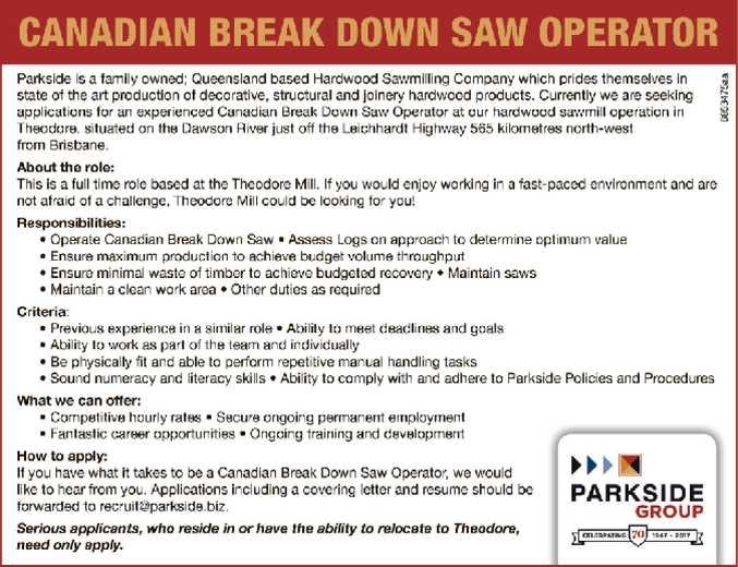 CANADIAN BREAK DOWN SAW OPERATOR