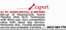 A1 TV, AUDIO INSTALL & REPAIRS Set-up of Plasma/LCD, Home Theatre, DVD, Hi-Fi. Technician wit...