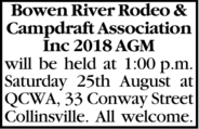 Bowen River Rodeo & Campdraft Association Inc 2018 AGM will be held at 1:00p.m. Saturday 25th...