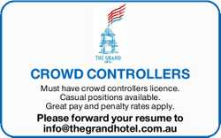Must have crowd controllers licence.
