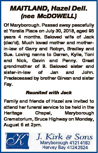 MAITLAND, Hazel Dell  | Funeral Notices | Fraser Coast