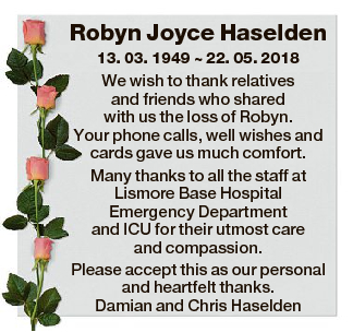 Robyn Joyce Haselden 13. 03. 1949  22. 05. 2018 We wish to thank relatives and friends who shared with...