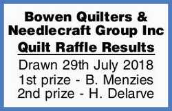 Bowen Quilters & Needlecraft Group Inc    Quilt Raffle Results   Drawn 29th July 2018...