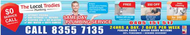 Same Day Plumbing Service   Call 83557135   Free Washers with any Job   50% OFF Toile...
