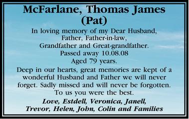Mcfarlane Thomas James Pat Condolences Notices Townsville