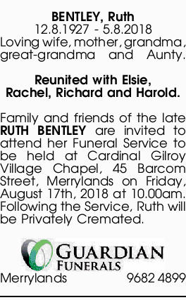 Browsing Funeral Notices | Northern Territory Classifieds