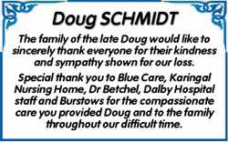 Doug SCHMIDT  The family of the late Doug would like to sincerely thank everyone for the...