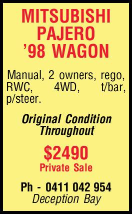 MITSUBISHI PAJERO '98 WAGON Manual, 2 owners, rego, RWC, 4WD, t/bar, p/steer. Original Condit...