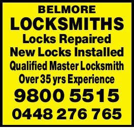 Locks Repaired  New Locks Installed  Qualified Master Locksmith  Over 35...
