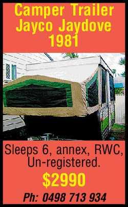 Camper Trailer Jayco Jaydove 1981 Sleeps 6, annex, RWC, Un-registered. $2990 Ph: