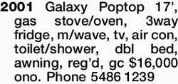 2001 Galaxy Poptop 17', gas stove/oven, 3way fridge, m/wave, tv, air con, toilet/shower, db...