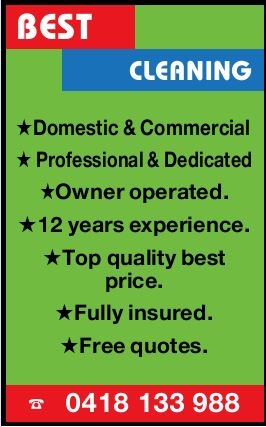 BEST CLEANING   Domestic & Commercial Professional & Dedicated Owner operated. 12 yea...