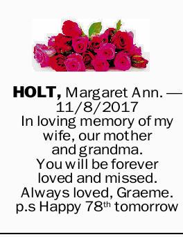 Holt Margaret Ann Condolences Notices Geelong Advertiser