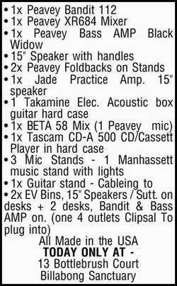 "1x Peavey Bandit 112 1x Peavey XR684 Mixer 1x Peavey Bass AMP Black Widow 15"" Speaker with h..."
