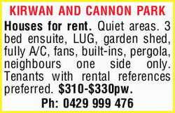 Houses for rent. Quiet areas. 3 bed ensuite, LUG, garden shed, fully A/C, fans, built-ins, pergol...
