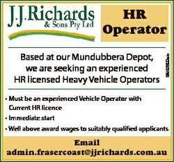 Based at our Mundubbera Depot, we are seeking an experienced HR licensed Heavy Vehicle Operators 685...