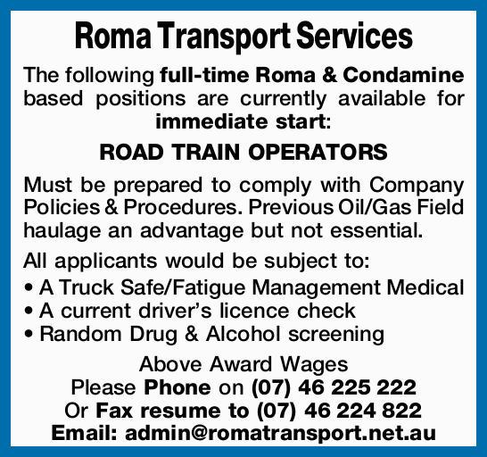 ROAD TRAIN OPERATORS
