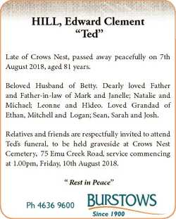 """HILL, Edward Clement """"Ted"""" Late of Crows Nest, passed away peacefully on 7th August 2018,..."""