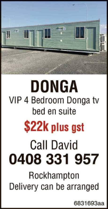 <p> <strong>DONGA VIP 4 Bedroom Donga tv bed en suite</strong> $20.000.00 plus gst </p> <p> Call...</p>
