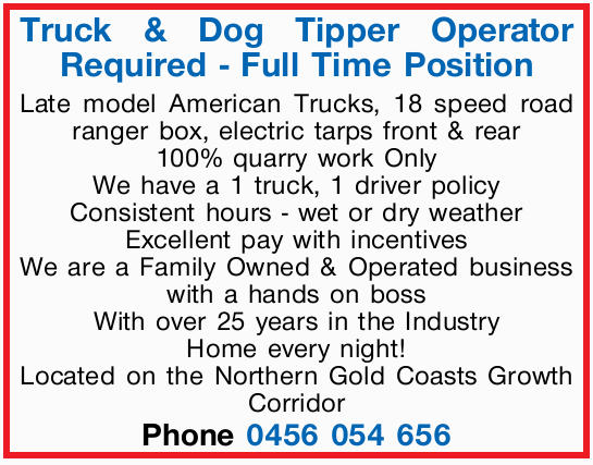 Truck & Dog Tipper Operator Required
