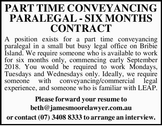 PART TIME CONVEYANCING PARALEGAL - SIX MONTHS CONTRACT