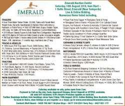 Emerald Auction Centre Saturday 18th August 2018, 9am Start - 1 Batts Street, Emerald (Near Saleyard...