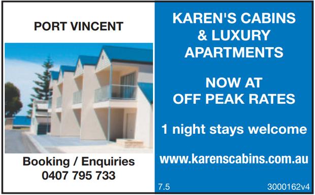 Port Vincent   Karen's Cabins & Luxury Apartments   Now at Off Peak rates   1...