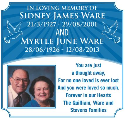In Loving Memory of Sidney James Ware 21/3/1927 - 29/08/2001AND Myrtle June...