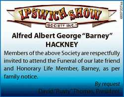 "6857207aa Alfred Albert George ""Barney"" HACKNEY Members of the above Society are respectfu..."