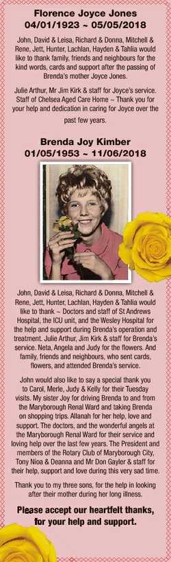 Florence Joyce Jones 04/01/1923  05/05/2018 John, David & Leisa, Richard & Donna, Mitchell &...