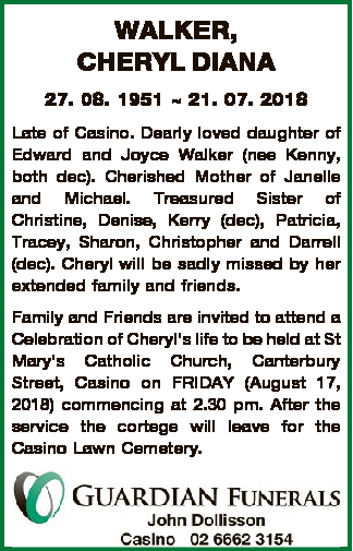 WALKER, CHERYL DIANA 27. 08. 1951  21. 07. 2018 Late of Casino. Dearly loved daughter of Edward and...