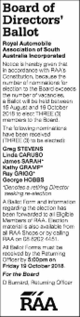 Board of   Directors'   Ballot   Royal Automobile   Association of South ...