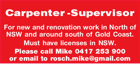 Carpenter -Supervisor